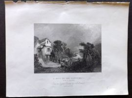 Holmes C1840 Antique Print. A Mill on the Llanberris, Side of Snowdon